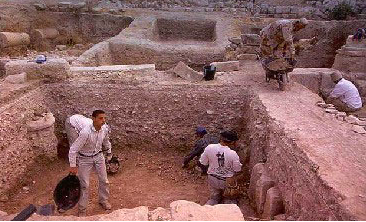 Abila, Area B, theater area, excavating down into the Roman period.