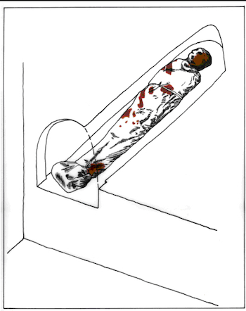 "Picture kindly provided by Shimon Gibson: ""Reconstruction of the burial in the Akeldama shrouds found in Hinnom Valley, Jerusalem"", drawing by Fadi Amirah ©, courtesy of the Jerusalem Archaeological Unit, published by Joe Zias. 2002. ""The Shroud Mystery"". Approfondimento Sindone 6: 57."