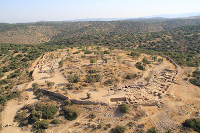 1. Aerial photograph of Khirbet Qeiyafa at the end of the 2011 excavation season.