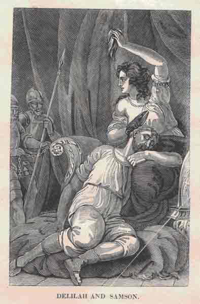Delilah and Samson, Steel Engraving by Alexander Anderson, from The Cottage Bible (Tiffany & Burnham, 1848). Photo: Katherine Low