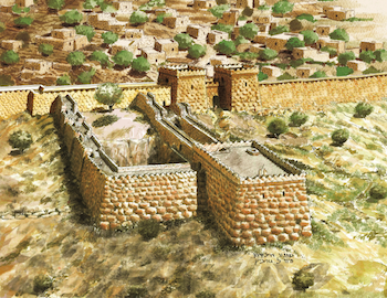 Fig. 1: Reconstruction of the Gihon Spring fortification system, by Eyal Meiron.[2] (Drawing by Leonardo Gurevich. Courtesy of Elad Foundation and Megalim Institute.)