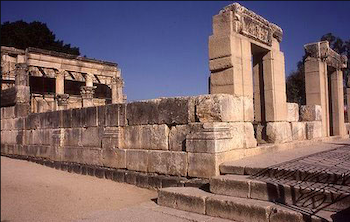 Synagogue at Capernaum. Possibly contemporaneous with Huqoq synagogue, 4th-6th century CE.