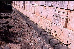 The stone blocks making up the walls of Capernaum's contemporary synagogue are large like those of the Huqoq synagogue.