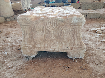 Fig. 6. Menorah representation on the Magdala Stone (replica). Photograph by the author, 2018