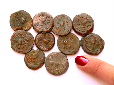 Fig. 1: Coins from the Ophel Excavations. Courtesy of Eilat Mazar.