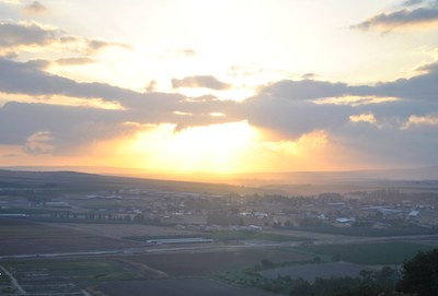Sunrise View of the Jezreel Valley from Area M.