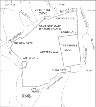 Fig. 2: The location of the Zedekiah Cave at the northern wall of the city of Jerusalem