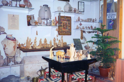 Interior of the dealers shop, Dec 1993, showing the Joseph ossuary on the floor. Note what appears to be an additional ossuary in the right hand corner of the photo.